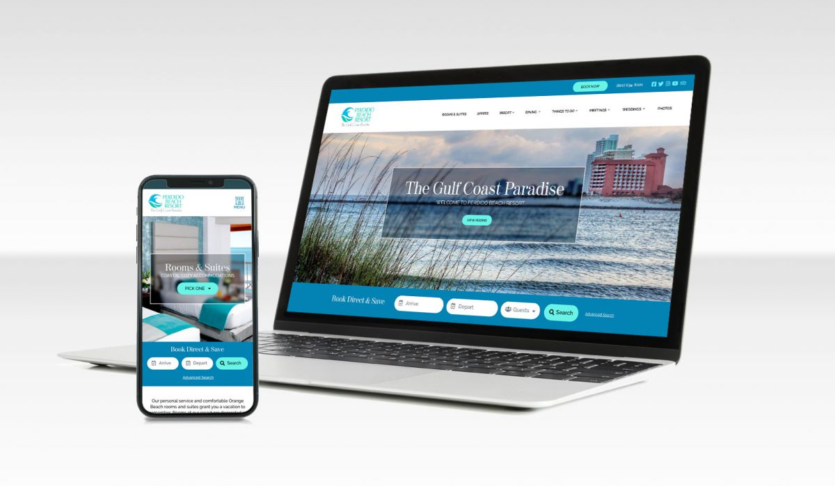 a mock up of Perdido Beach Resort website homepage on laptop and mobile device